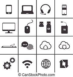 network and mobile icon set