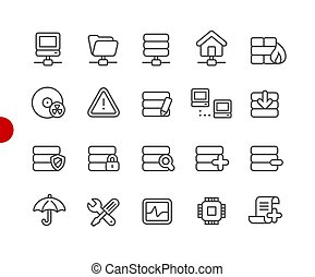 Network and Server Icons // Red Point Series