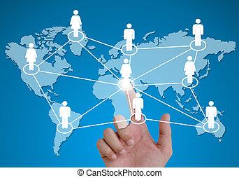 network., apontar, modelos, junto, mão, conectado, human, social