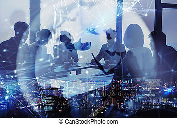 Network background concept with business people silhouette and city skyline at night. Double exposure and network effects