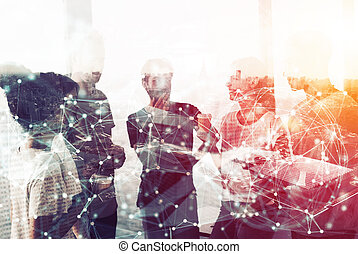 Network background concept with business people silhouette. Double exposure and network effects