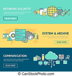 Network Banners Set - Network banners set with security...