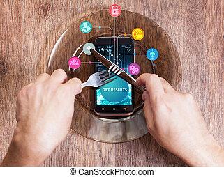 network., begriff, sieht, technologie, arbeitende , bekommen, inscription:, schirm, ergebnisse, virtuell, junger, unternehmer, zukunft, internet geschäft