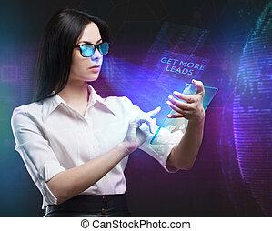 network., begriff, sieht, technologie, arbeitende , bekommen, inscription:, schirm, junger, virtuell, geschaeftswelt, führt, unternehmer, zukunft, internet, mehr