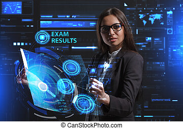 network., begriff, sieht, technologie, arbeitende , inscription:, schirm, ergebnisse, virtuell, junger, unternehmer, zukunft, internet geschäft, prüfung