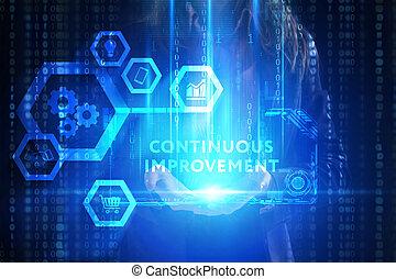 network., begriff, sieht, technologie, arbeitende , inscription:, schirm, kontinuierlich, junger, virtuell, geschaeftswelt, unternehmer, zukunft, internet, verbesserung