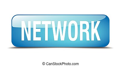 network blue square 3d realistic isolated web button