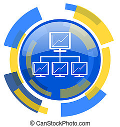 network blue yellow glossy web icon