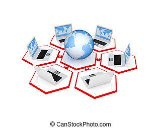 network., bolygó, jegyzetfüzet, bemerít, földdel feltölt