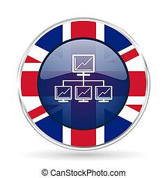 network british design icon - round silver metallic border button with Great Britain flag