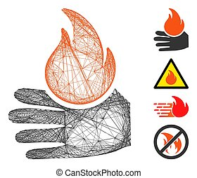 Vector wire frame burn hand. Geometric wire frame flat net made from burn hand icon, designed from crossed lines. Some bonus icons are added.