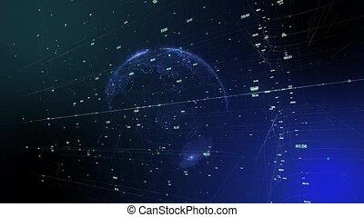 network., business, espace, global, seamless, tourner, animation, la terre