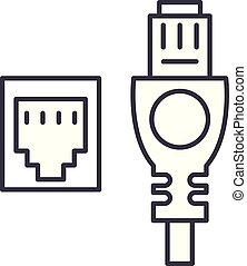 Network cable and socket line icon concept. Network cable...