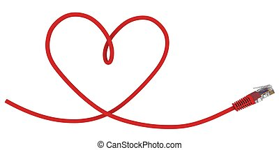 Network cable twisted in the shape of the heart. 3d...