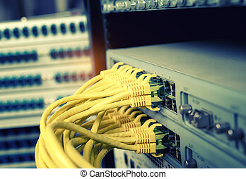 network cables connected to switch,Data Center Concept