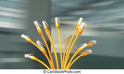Network cables - Yellow network cables, with alpa matte.
