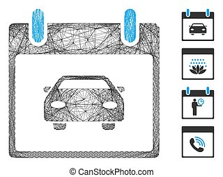 Vector net car calendar day. Geometric wire frame flat net generated with car calendar day icon, designed with crossed lines. Some bonus icons are added.