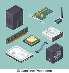 network., case., verde, conexão, pretas, cartão, set., fornecer, ram, poder, isometric, disco rígido, modernos, vetorial, sistema, dvd pessoal, prato, protetor, jogador, áudio, cabo, equipamento computador, adaptador