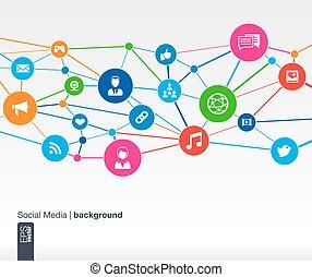 network., cerchi, appartamento, media, icons., linee, crescita, fondo, sociale, integrare