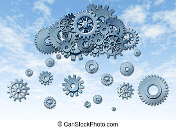 Network cloud computing symbol represented by gears and cogs raining down from the virtual server sky on a blue background.