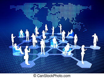 Concept of how people connected via internet as a social or business networking activities.