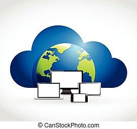 network., computer, elektronisch, wolk