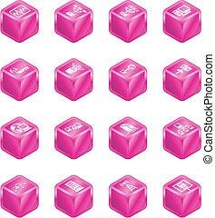 Network Computing Cube Icons Series Set.