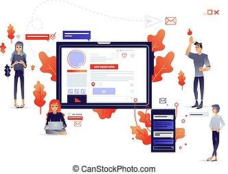 network., conceito, pessoas, comunicação, social, conectando, internet, caricatura