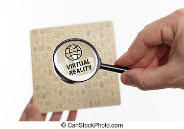 network., concept, technologie, inscription:, projection, jeune, virtuel, business, internet, homme affaires, réalité
