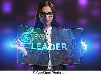 network., concept, voit, technologie, fonctionnement, inscription:, écran, jeune, virtuel, business, entrepreneur, avenir, internet, éditorial
