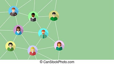 Network concept with diverse people connecting to each other