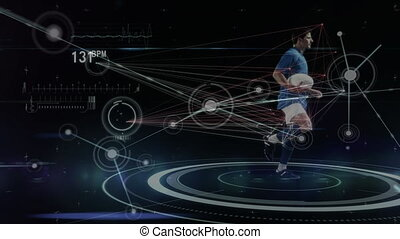 Network connected points with male rugby player running