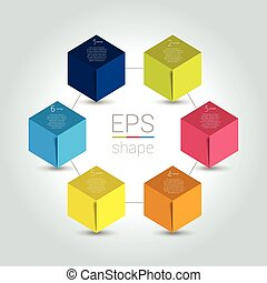 Network connected speech diagram. Hexagon presentations with text box. Infographic. 6 step design. Vector illustration.