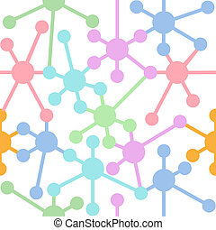 Network connection nodes seamless pattern - Colorful network...
