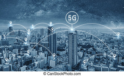 Network connection technology in the city, with 5g internet networking sign