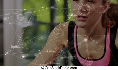 Network connection with caucasian woman working out