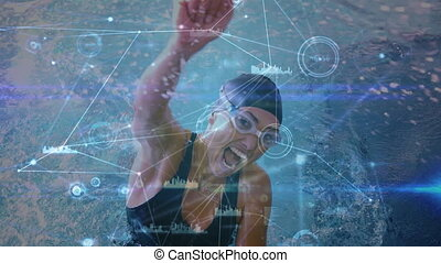 Network connection with female swimmer - Animation of a ...