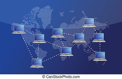 Network connection with laptop illustration design