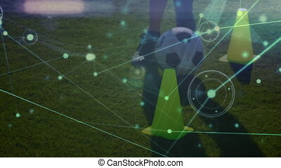 Network connection with low section football player training