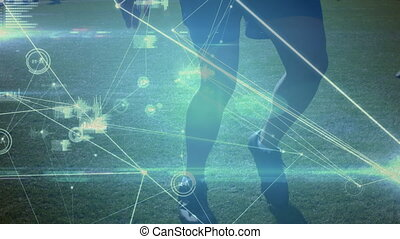 Network connection with low section soccer player practicing