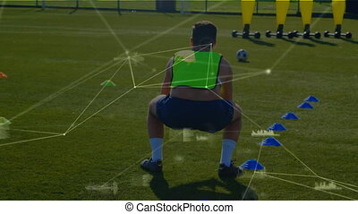 Network connection with man working out on field