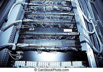Network data center - A shot of network equipment in a data...