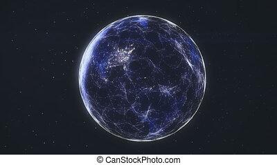 Network data flow across a futuristic Earth.