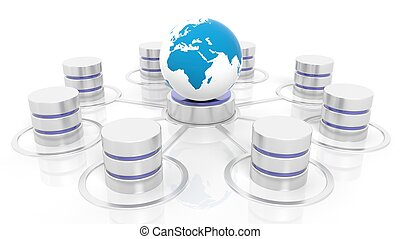 Network database connected with world icon isolated on white...