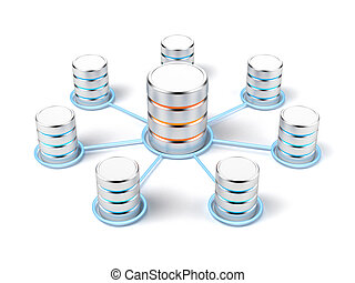 Network database isolated on a white background