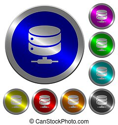 Network database luminous coin-like round color buttons