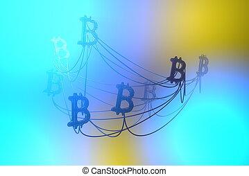 network., doré, fil, concept., voler, bitcoin, illustration, air, cryptocurrency, autre, connecté, signes, chaque, 3d