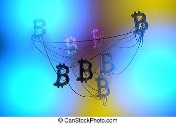network., doré, fil, illu, voler, bitcoin, air, cryptocurrency, autre, connecté, signes, stration, chaque, concept., 3d