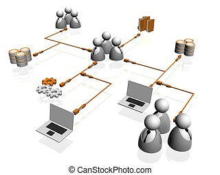 network - 3d people- human character arranged in a network....