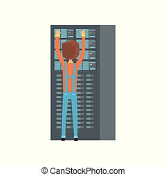 Network engineer administrator working in data center, ...